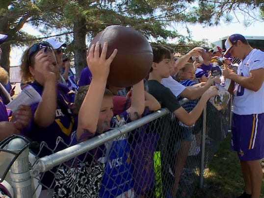 Giant football at Vikings Training camp