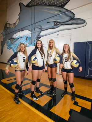 Freshman Rilee Sabik (6), left to right,  sophomore Cassie Davis (9), junior Carlee Amberson (15), and senior Gracie Snider (8) volleyball players at Gulf Breeze High School on Friday, August 11, 2017.