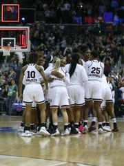 MSU celebrates the win in overtime. Mississippi State