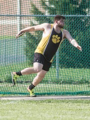 Paint Valley's Travis Burton, seen here in a competition earlier in the 2018 season, broke the Division III district record in the discus Wednesday.
