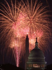 Fireworks explode over the U.S. Capitol and the Washington