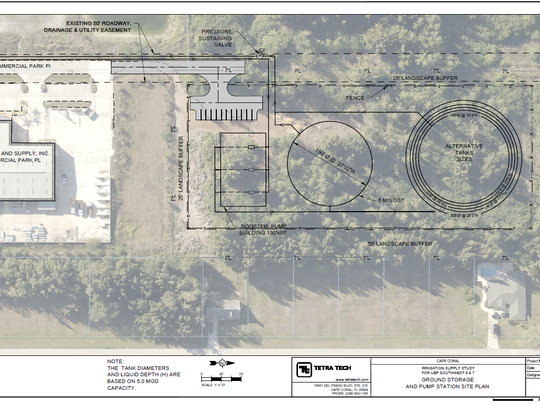 An engineering drawing for the city of Cape Coral on the Bunch property.