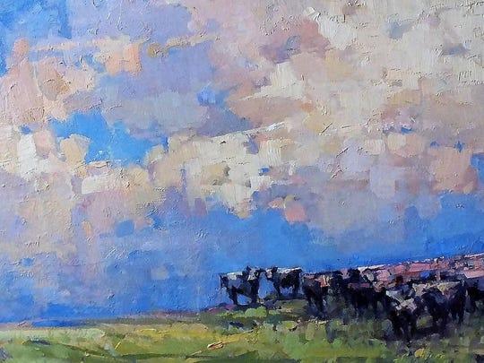 Hudson Valley Cows Oil on Panel by Gary FiferAtBannermanGaltoDec.2