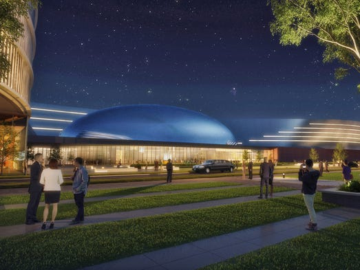 A rendering shows Ford's plans for a courtyard outside