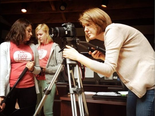 "Hannah Myers Lindgren shoots a scene for ""Food First,"" a film about local food in and around Indianapolis."
