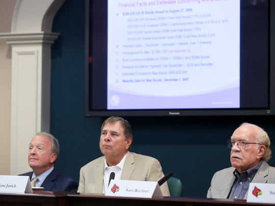 The University of Louisville Athletic Association met Thursday morning to discuss an amendment about the Yum Center lease. From left to right are University of Louisville Interim President Greg Postel. University of Louisville Athletic Director Tom Jurich and board member Sam Rechter.