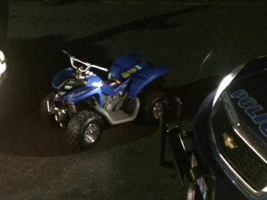 The Blue miniature battery-powered ATV that a 6-year-old autistic boy drove onto the northbound ramp of the Bronx River Parkway near Oak Street in Mount Vernon Sunday evening. The child was safely taken off the road after three motorists slowed their vehicles to surround and protect the boy from other vehicles that might not have seen him.