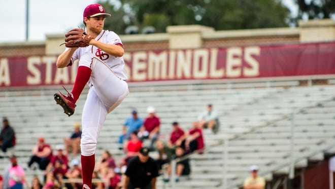 Andrew Karp (19), pitches during the 4-2 USF victory against FSU at Dick Howser Stadium in Tallahassee, FL.