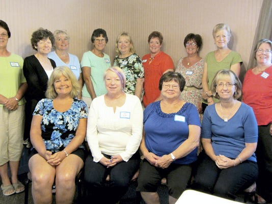 These new members were welcomed into the York County Chapter of Pennsylvania Association of School Retirees during a special breakfast. Diana Kopp, Jan Watt, Carolyn Zeigler and Kathy Herman are seated in the front row. Standing behind them, from left, are: Deb Stough, Kathryn Swartz, Linda Collison, Sharon Mummert, Jessica Fahs, Jan Ruman, Debbie Kronsteiner, Cheryl Moser and Catherine Bankoske. Sue Cathcart was not available for the photo.