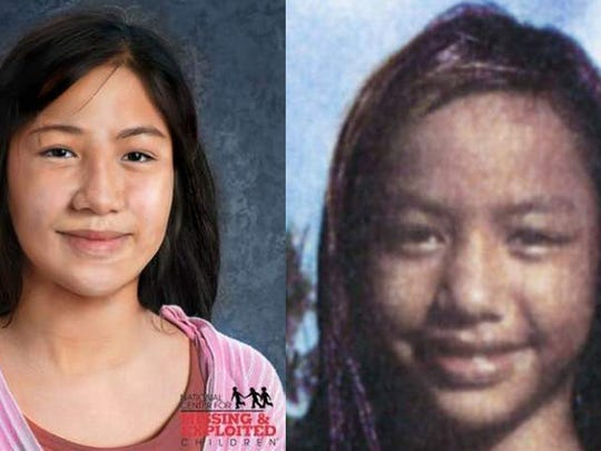 These photos of Faloma Luhk, released by the FBI, show here at around the time of her disappearance, right, and what she might look like now, left.