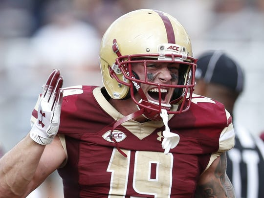 Sep 29, 2018; Chestnut Hill, MA, USA; Boston College Eagles wide receiver Ben Glines (19) celebrates after a touchdown during the second half against the Temple Owls at Alumni Stadium. Mandatory Credit: Greg M. Cooper-USA TODAY Sports
