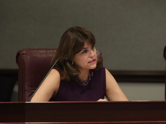 Senator Annette Taddeo, D - Miami, at Monday's meeting of the Committee on Environmental Preservation and Conservation at the Senate Office Building.