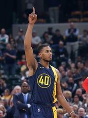 Indiana Pacers guard Glenn Robinson III (40) acknowledges