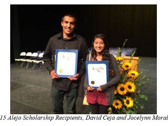David Ceja and Jocelynn Morales, recipients of scholarships from Assemblyman Luis A. Alejo.