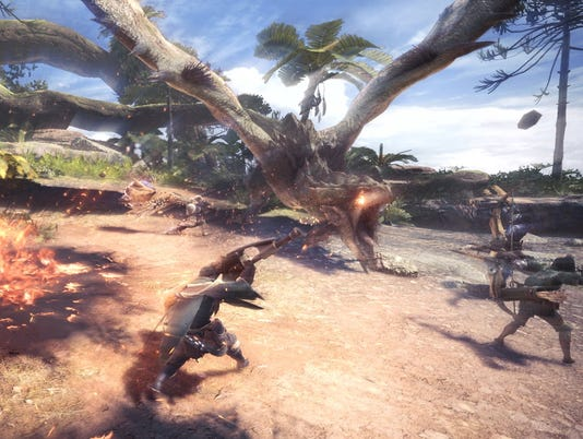 Rathalos hunting in Monster Hunter World for PC, PS4 and Xbox One.