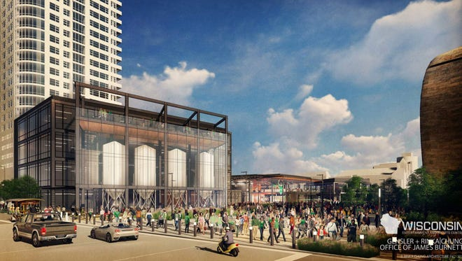 A rendering, looking southeast from N. 4th St. and W. Juneau Ave., shows a possible craft brewery. The brewery could anchor the downtown entertainment center being proposed by the Milwaukee Bucks, according to a new filing with the Department of City Development.