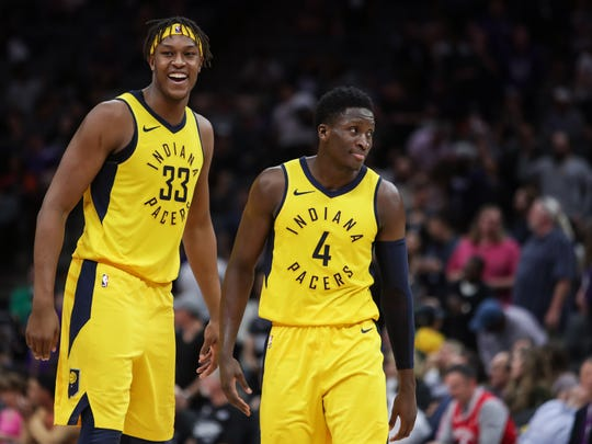 Indiana Pacers guard Victor Oladipo (4) celebrates with center Myles Turner (33) after hitting the game winning three point basket during the second half against the Indiana Pacers at Golden 1 Center.
