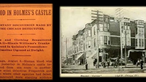 "Historic documents depicting Holmes' ""Murder Castle"""
