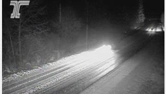 Snow on Highway 22 at Santiam Park, milepost 25.