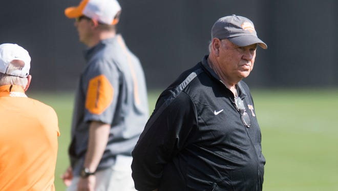 Tennessee athletic director Phillip Fulmer watches a Vols football practice April 3.