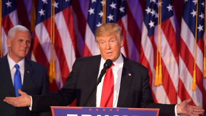 Donald Trump speaks in New York on Nov. 9, 2016.