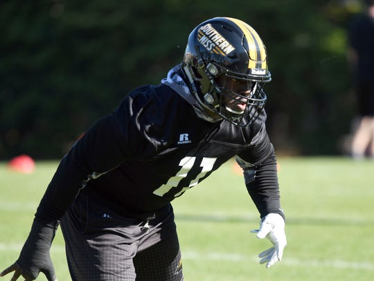 Southern Miss' Sherrod Ruff runs drills during the