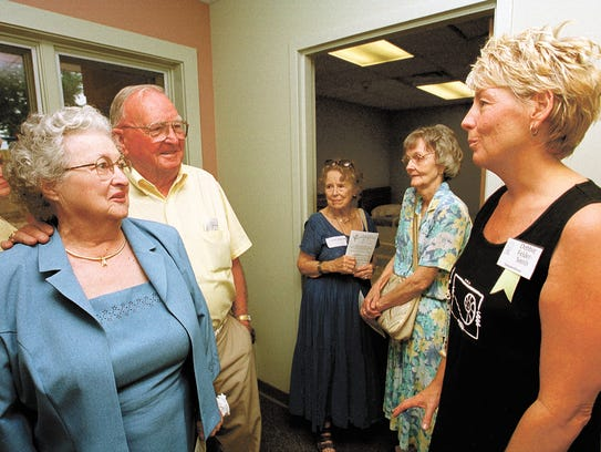 Margaret and Lee Gordon (left) share anecdotes in July
