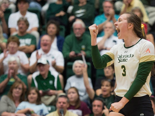 Colorado State University's Adrianna Culbert celebrates after scoring against Boise State during a Sept. 26, 2015, match at Moby Arena. Culbert has been hired a an assistant coach for the Rams.