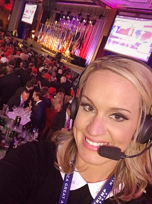 Hendersonville's Scottie Nell Hughes, a Donald Trump supporter/spokeswoman, in the New York Hilton ballroom where Trump celebrated his election as U.S. president. Hughes did a live report for a Katie Couric show on Yahoo News online.