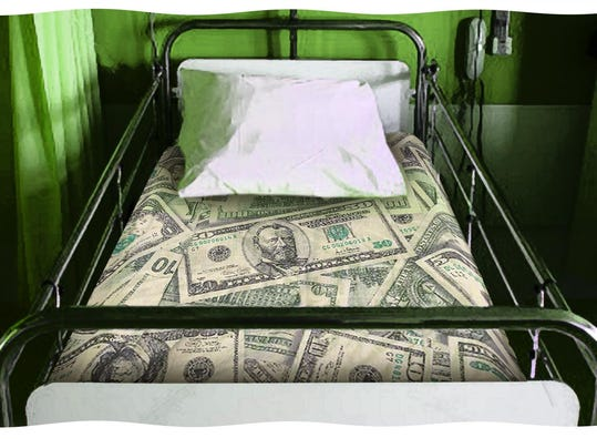 hospital bed made of money