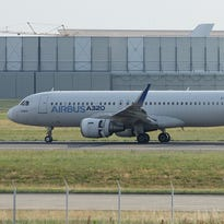 An Airbus A320 is seen at Airbus factory and headquarters near Toulouse, France, on May 28, 2015