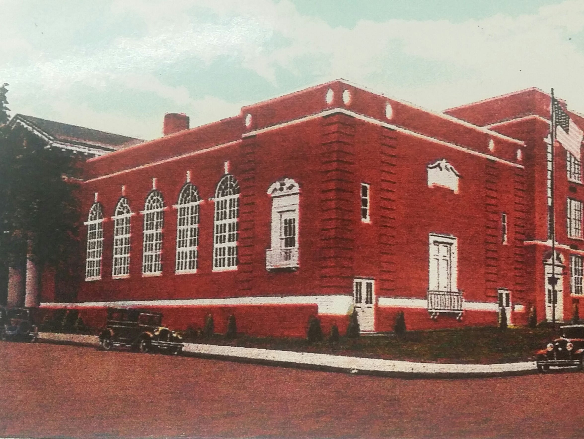 Chambersburg High School, as seen from the corner of