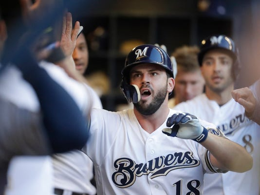 Image result for mike moustakas brewers