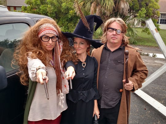Jennifer DuVall, Crissy Barchers and Mark  Crabill (left to right) played Sybill Trelawney, Minerva McGonagall and Mad Eye Moody at the 2016 Hogwarts on Del Prado.