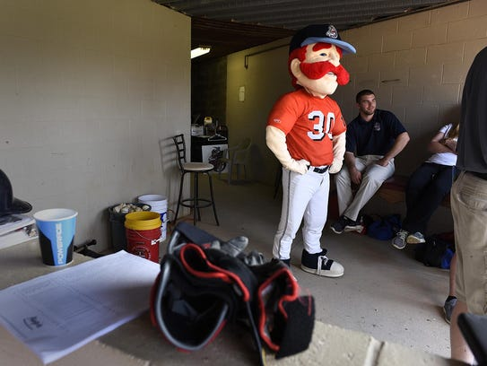 St. Cloud Rox mascot Chisel hangs out during the team's