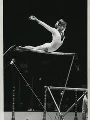 Olga Korbut, Russian gold medalist in gymnastics, is
