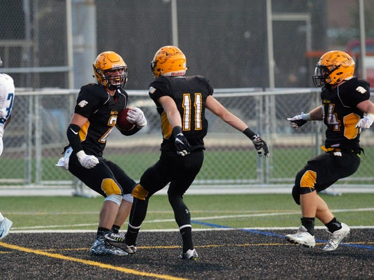 Red Lion's Ben Frey, left, celebrates with teammate