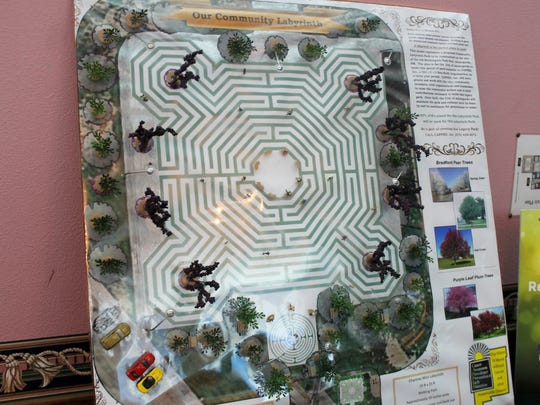 This diorama shows the planned design for a Reims Labyrinth to be built in Washington Park.