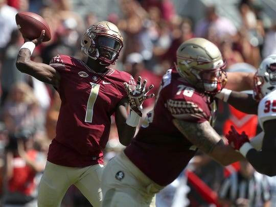 FSU's James Blackman throws the ball against NC State