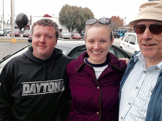 Rob and Kristin Wallace, of Charlotte, N.C., on Friday were car shopping on the lot at Springfield  Mercedez-Benz, 3727 S. Campbell Ave. They are with her father, Donald Hodge, of Brookline, who already owns a Mercedes.