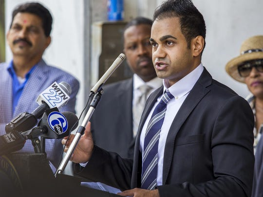 """Developer Canon Patel speaks at a """"groundbreaking"""" ceremony announcing the renovation of the former office building at 1300 N. Market St. into a new Marriott extended stay hotel on Thursday morning, June 11, 2015."""