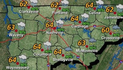 Monday's forecast in Middle Tennessee.