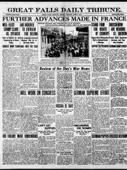Front page of the Great Falls Tribune, Monday, April 2, 1917.