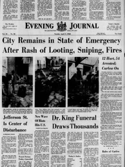 The front page of the Tuesday, April 9, 1968 Evening Journal.