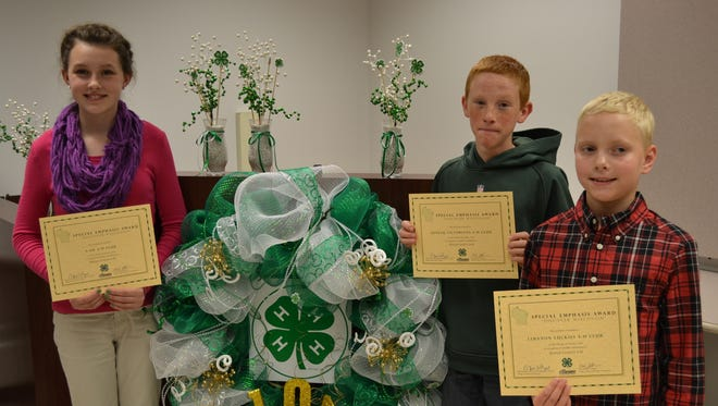 """Youth 4-H members accept recognition for their club's top honors in Special Emphasis """"Discover Wisconsin."""" From left, Lydia Meyer, A-OK; Evan Finger, Juneau Victorians; and Brandon Boyd, Lebanon Luckies."""
