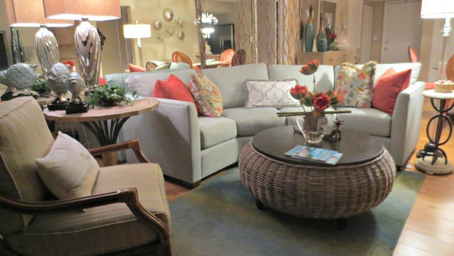 Instead of a typical L-shape couch, a Norwalk Horizons sectional forms a curved conversation center through the use of left- and right-angled pieces.