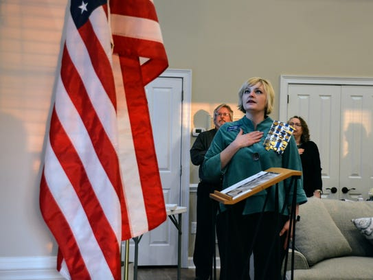 Summer Morris leads the Pledge of Allegiance at the