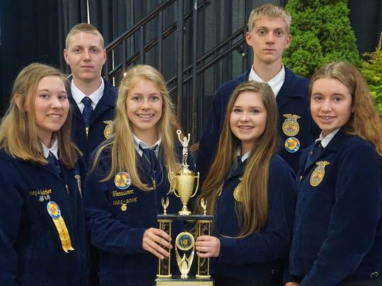 Columbus FFA Chapter was recognized as one of the top ten chapters in Wisconsin.  Columbus FFA received a trophy for fourth place in Growing Leaders and took tenth place overall.  The award is based off of the National Chapter Award application that is completed by the officer team.  Pictured: L to R- Lacey Schleicher, Kyle Paulson, Emma Paulson, Hailey Schoenherr, Colin Damm and Abbygail Hayes.