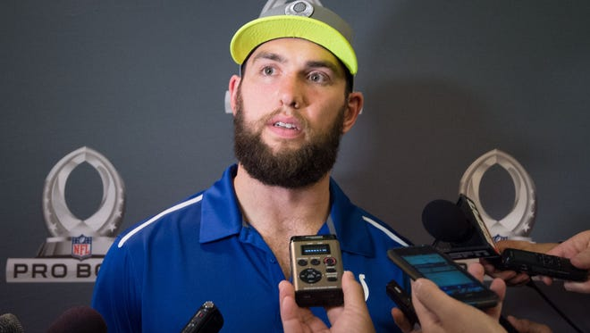 Indianapolis Colts quarterback Andrew Luck (12) addresses the media after being selected first overall by Team Carter during the Pro Bowl Draft at The Arizona Biltmore.