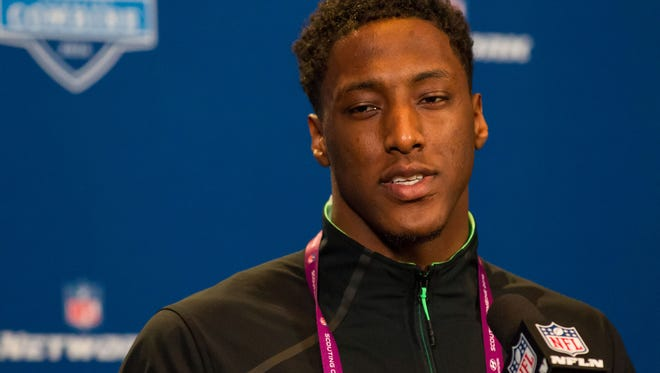Ohio State wide receiver Michael Thomas speaks to the media during the 2016 NFL Scouting Combine at Lucas Oil Stadium. He'll be a Bengals target in the first round.